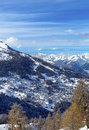 View at the resort valleys of village nendaz swiss alps Stock Images