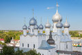 The view of the resurrection of christ church in rostov kremlin and assumption cathedral from observation deck golden ring russia Stock Photography