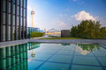 View of the rhine tower in düsseldorf germany with reflections a water pool Stock Images