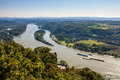 View of rhine valley from drachenfels germany Stock Photos