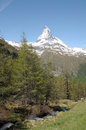 View from riffelalp of the matterhorn in swiss alps Royalty Free Stock Photos