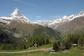 View from riffelalp of the matterhorn in swiss alps Royalty Free Stock Image