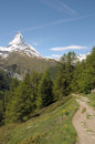 View from riffelalp of the matterhorn in swiss alps Stock Image