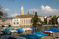 View of river, boats & old town, Zurich Stock Images
