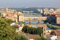 View at the river and bridges in Florence, Italy Stock Photos