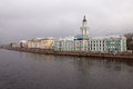 View of the river and the waterfront on a cloudy day. Spring. Saint-Petersburg. Russia. Royalty Free Stock Photo