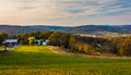 View of rolling hills in rural Frederick County, Maryland. Royalty Free Stock Photo