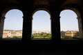 View of rome from castel sant angelo three windows Royalty Free Stock Images