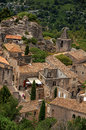 View of the roofs and houses of the village of Baux-de-Provence. Royalty Free Stock Photo