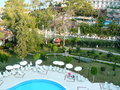 The view from the rooms at the hotel nice pool kemer turkey Stock Image