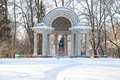 View of the Rossi pavilion (monument to Empress Maria Feodorovna), february day. Pavlovsk park Royalty Free Stock Photo