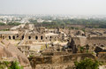 View of the ruins of golcanda fort andhra pradesh india the medieval fort was built in the mughal empire and still dominates part Royalty Free Stock Photos