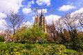 View of sagrada familia by architect gaudi barcelona spain march in march in barcelona spain famous church building is begun in Royalty Free Stock Image