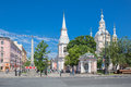 View of saint andrew x s cathedra and andreyevsky boulevardl on vasilevsky island st petersburg russia june Royalty Free Stock Images