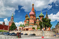 View of the saint basil cathedral and the kremlin in moscow rus pokrovsky russia Stock Photo