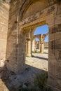View through saint mamas gothic church ruins at the deserted village of ayios sozomenos cyprus agios may agios is a in nicosia Royalty Free Stock Photo