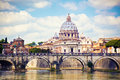 View of saint peter cathedral in rome and bridge angel italy Royalty Free Stock Photo