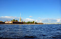 View of Saint Petersburg from Neva river. The Peter and Paul For Royalty Free Stock Photography