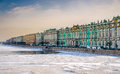 View of saint petersburg and neva river during winter from the banks the Stock Photos