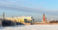 View of saint petersburg spit of vasilievsky island in winter russia Royalty Free Stock Images