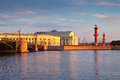View of saint petersburg in summer morning spit vasilievsky island Stock Photo
