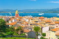 View of Saint-Tropez with sea and blue sky Royalty Free Stock Photo
