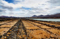 View of salt pans at salinas de janubio on lanzarote in the spanish canary islands Stock Images