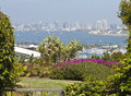 View of san diego california a viewpoint from point loma residential backyard Stock Photography