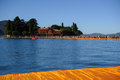 View of san paolo island from the floating piers panoramic on iseo lake christo s last opera Royalty Free Stock Image