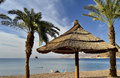 View on sand beach in Eilat, Israel Royalty Free Stock Photos