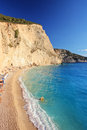 A view of a sandy beach at Lefkada island Royalty Free Stock Photography