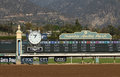 View of santa anita park finish line and tote board arcadia ca february historic with majestic san garbriel mountains in Stock Photography
