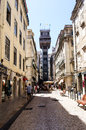 View of the santa justa lift elevador de santa justa also called carmo lift lisbon portugal Royalty Free Stock Image