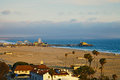 View of the Santa Monica Pier at sunset Royalty Free Stock Photo