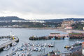 View of Scarborough Harbour and beach Royalty Free Stock Photo