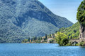 View at scenic lake lugano lakeside landscape in italian lago di como district Stock Photos