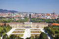 View of Schoenbrunn Palace with Great Parterre garden in Vienna, Austria Royalty Free Stock Photo