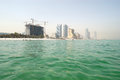 View from the sea on beach and buildings of the luxury hotels ajman uae Royalty Free Stock Photo
