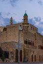 View of the Sea Mosque in Jaffa with the St. Peter's church Royalty Free Stock Photo
