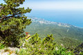 View from the sea to the grotto of Chaliapin, Crimea, Sudak Royalty Free Stock Photo
