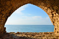 View of sea from window in Crusaders fortress in Israel Stock Photo