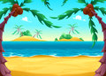 View on the seashore cartoon vector illustration Stock Image
