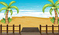 A view of the seaside with coconut trees illustration Royalty Free Stock Image
