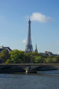 View of Seine, Paris, with Eiffel tower Stock Photos