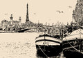View of seine river in paris with barges and eiffel tower vector illustration a Royalty Free Stock Images
