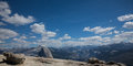 View from sentinel dome in yosemite the top off with a of half and valley national park california Royalty Free Stock Images
