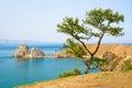 View of Shamanka rock, Cape Burhan on Olkhon island. Lake Baikal, Russia Royalty Free Stock Photo
