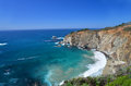 A view of sheer cliffs the pacific highway is built through coastline has precipitous and overlooking sea mixedd with are Stock Image