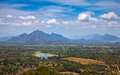 View from sigiriya rock beautiful panoramic the overlooking the plains and mountains in the background Stock Images
