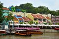 Tourist cruise boats at Clarke Quay Singapore River Royalty Free Stock Photo